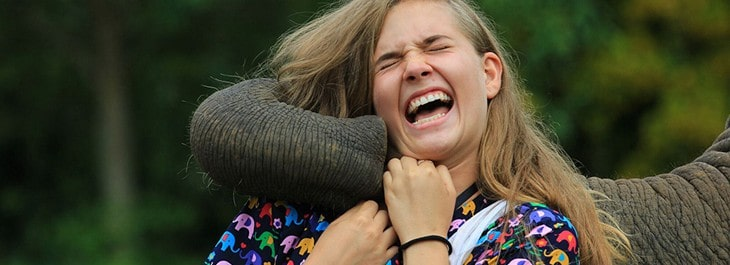 woman laughing playing with elephant close up