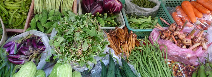 selections of thai herbs and vegetables