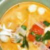 close up of seafood tom yum
