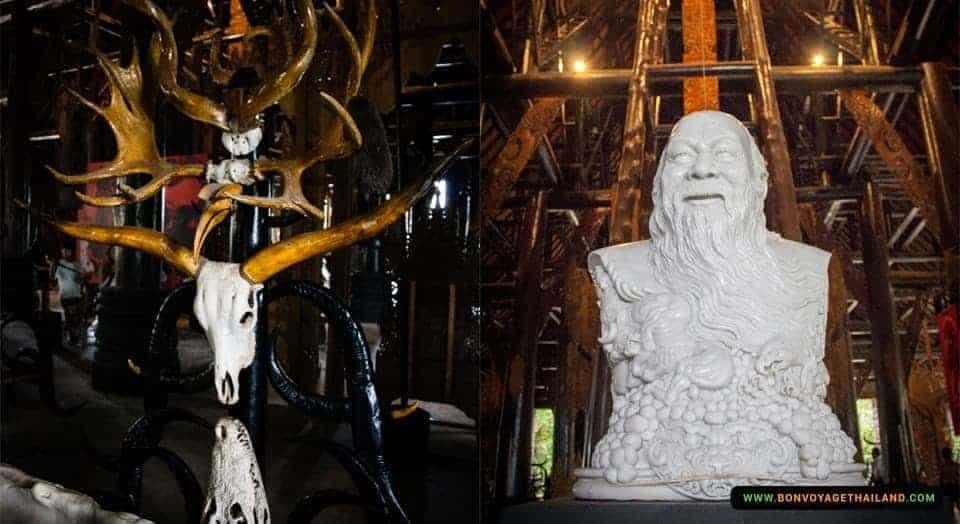 buffalo skulls and horns and statue at black house