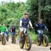 group of people riding on e-bikes