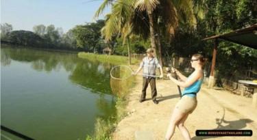 couple fishing in lake