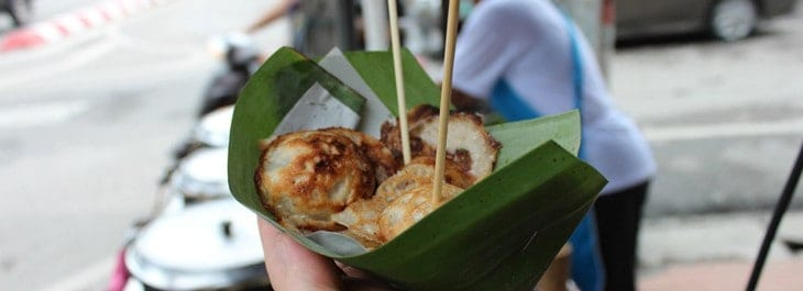 traditional thai snack in banana leaf package