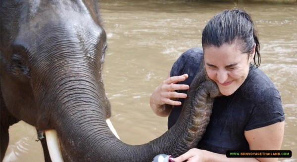 elephant kissing a lady in river