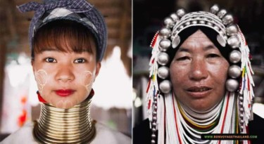 long neck karen and akha women in their respective traditional costumes