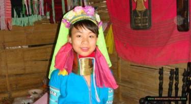 long neck karen woman in traditional costume