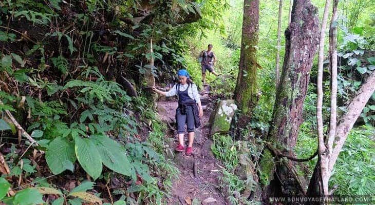 trekking through waterfal trail on doi inthanon
