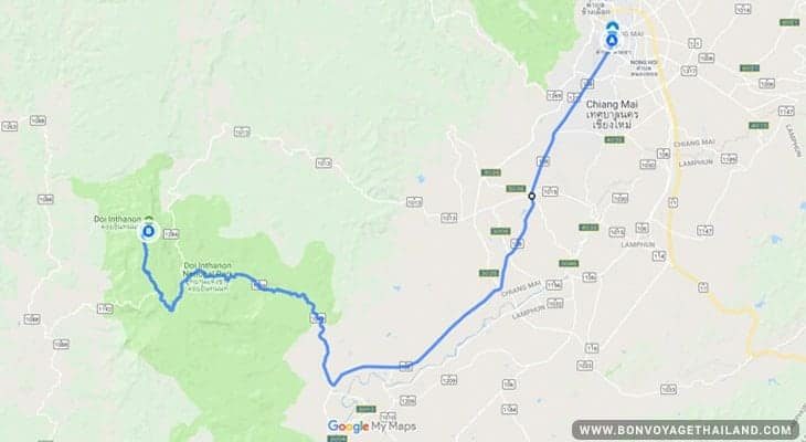 how to get to doi inthanon national park map