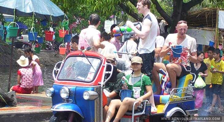 water fights during songkran festival in chiang mai