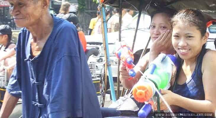 water gun fights during songkran festival in chiang mai