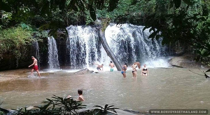group of people enjoying swimming in waterfall