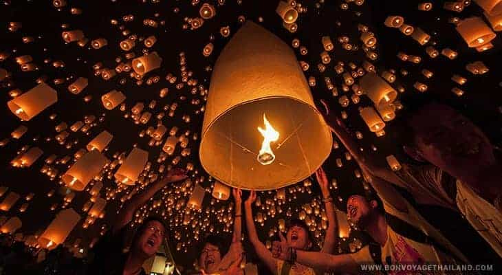 floating lanterns during yeepeng lantern international festival in chiang mai