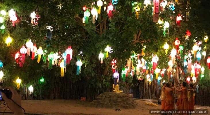 monks under tree decorated with traditional thai lanterns during yeepeng festival