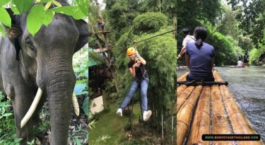 Elephant Sanctuary + Zipline + Bamboo Rafting