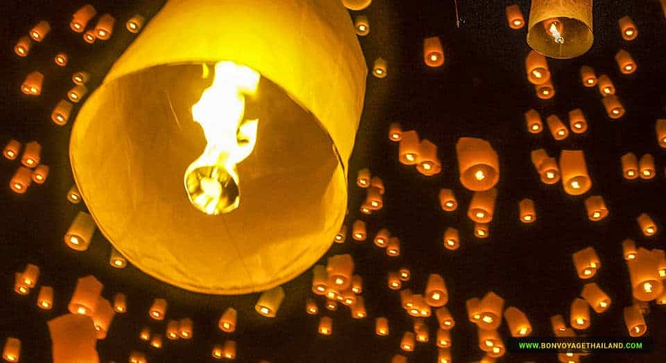 Yee Peng Lantern Floating in the Sky