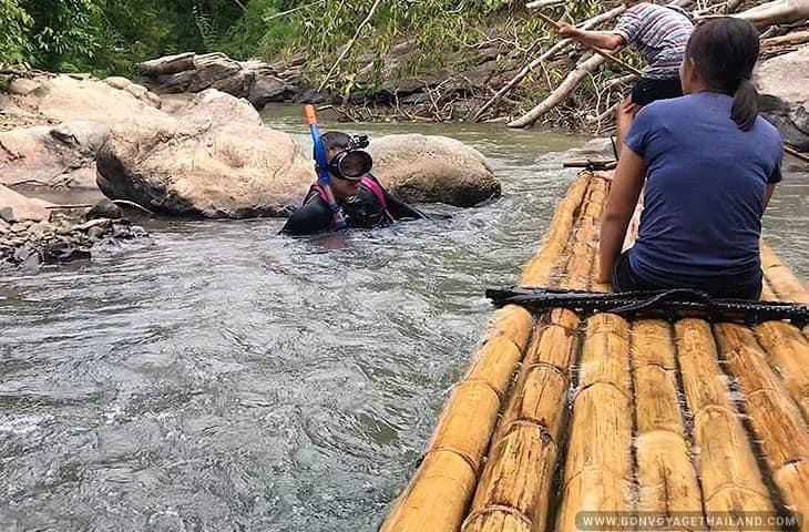 Diver at Bamboo Rafting Mae Wang River