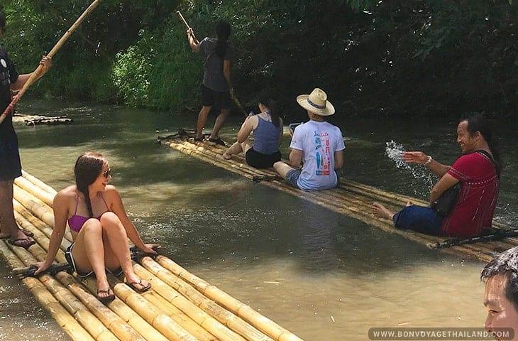 Fun at Bamboo Rafting Mae Wang River