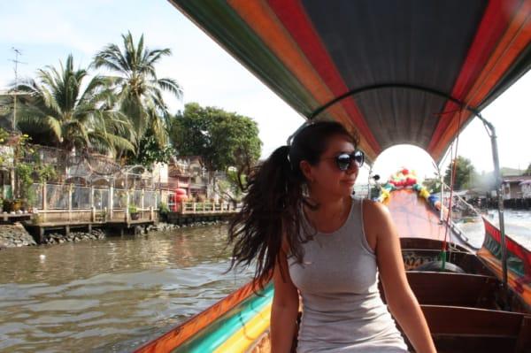 Bangkok Canal Tour Girl on Boat